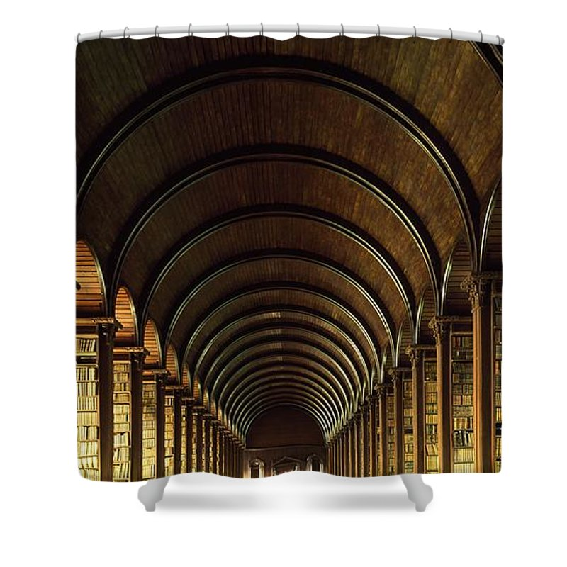 Books Shower Curtain featuring the photograph Thomas Burgh Library, Trinity College by The Irish Image Collection