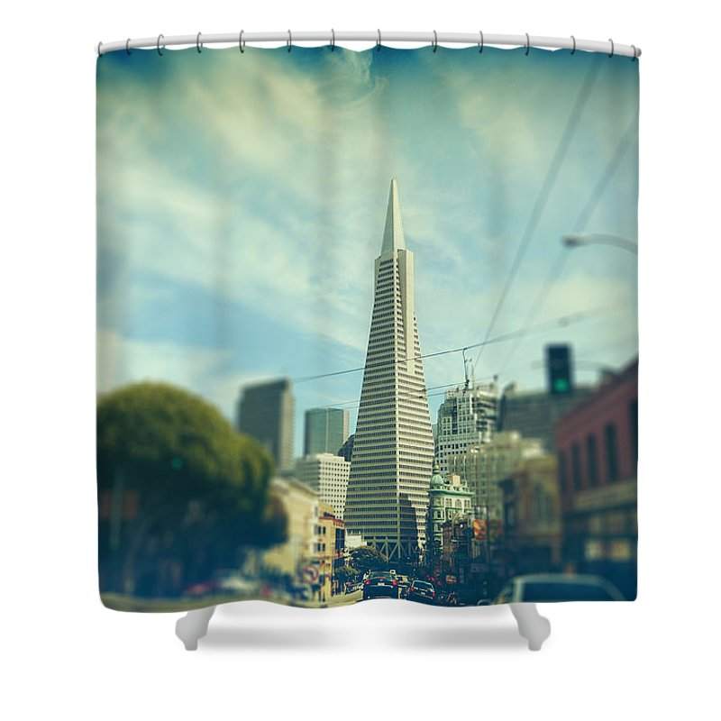San Francisco Shower Curtain featuring the photograph Those Sunny Downtown Days by Laurie Search