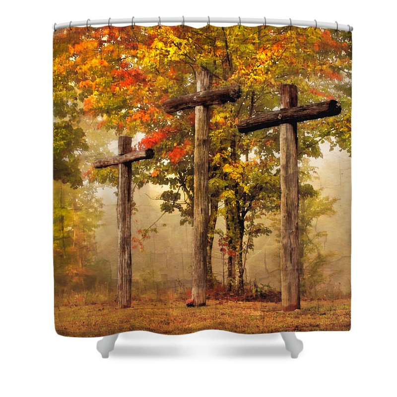 Appalachia Shower Curtain featuring the photograph Three Crosses by Debra and Dave Vanderlaan