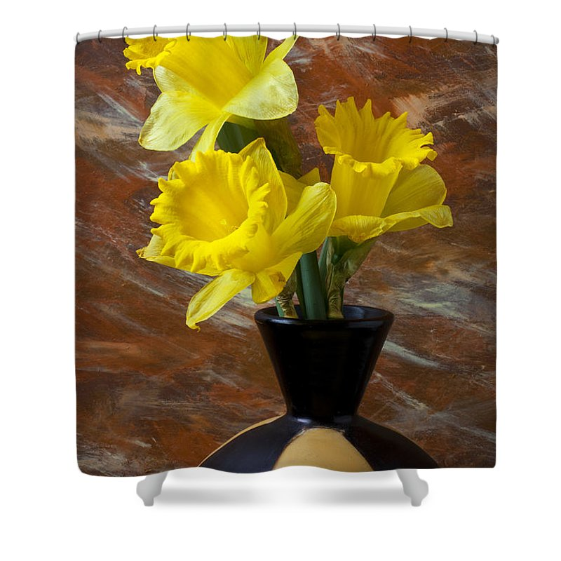 Yellow Shower Curtain featuring the photograph Three Daffodils by Garry Gay