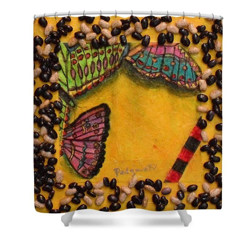 Art Shower Curtain featuring the painting Three Mariposas by Michael Pedziwiatr