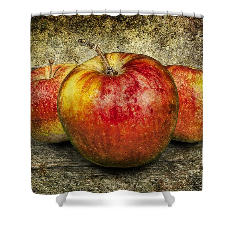 Art Shower Curtain featuring the photograph Three Red Apples by Randall Nyhof
