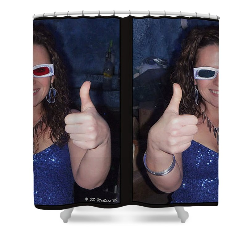 3d Shower Curtain featuring the photograph Thumbs Up - Gently Cross Your Eyes And Focus On The Middle Image by Brian Wallace