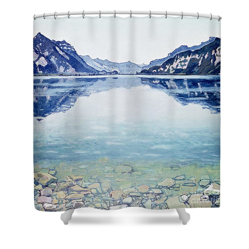 Lake Shower Curtain featuring the painting Thunersee von Leissigen by Ferdinand Hodler