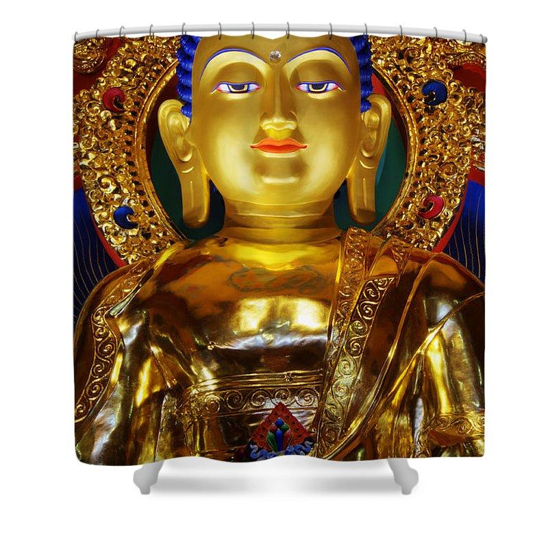 Buddha Shower Curtain Featuring The Photograph Tibetan 2 By Bob Christopher