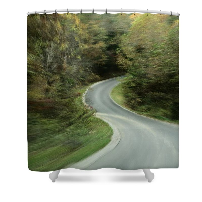 Outdoors Shower Curtain featuring the photograph Time-exposed View Of Route 49 Taken by Raymond Gehman