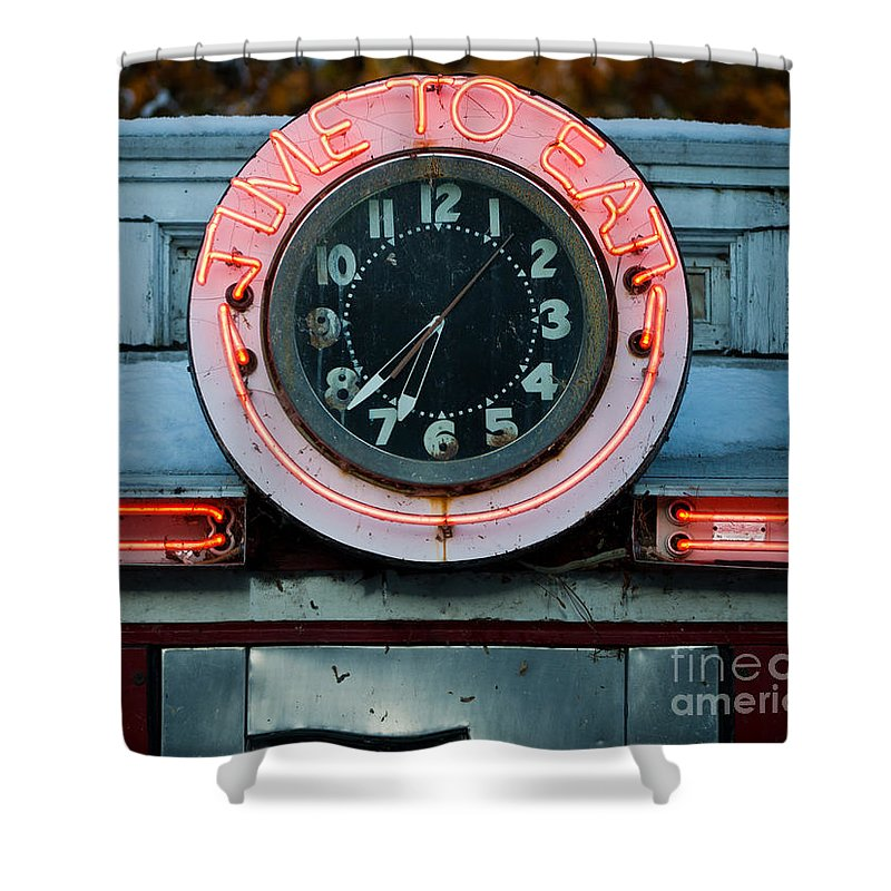 Diner Shower Curtain featuring the photograph Time To Eat by Edward Fielding