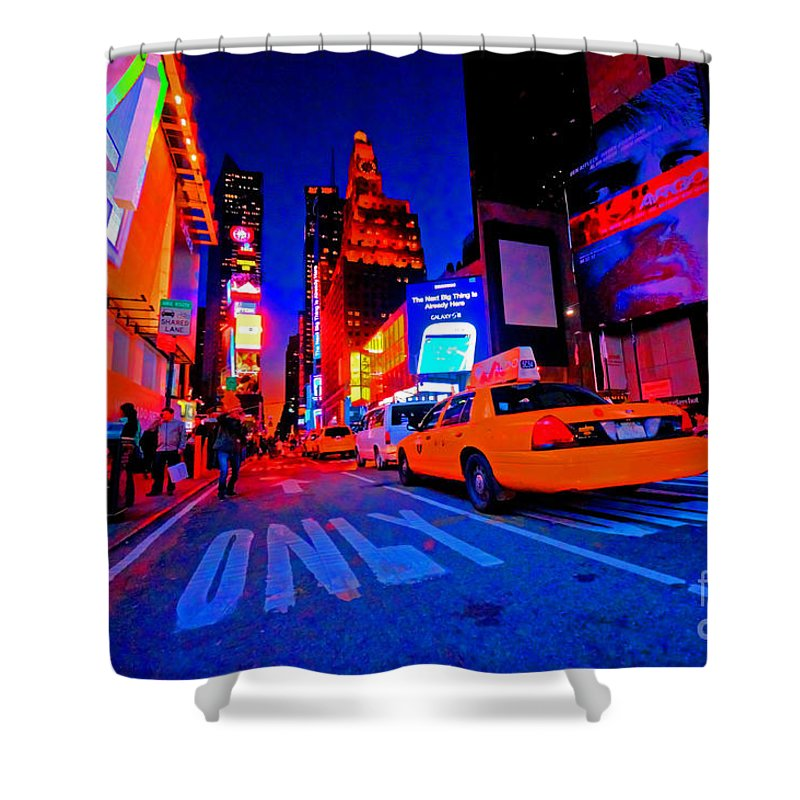 Times Shower Curtain featuring the photograph Times Square Nitelife by Rob Hawkins
