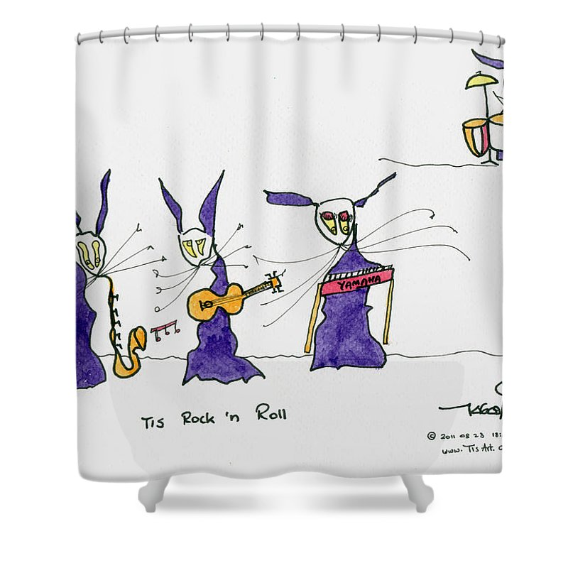 Rock Shower Curtain Featuring The Painting Tis N Roll By Art