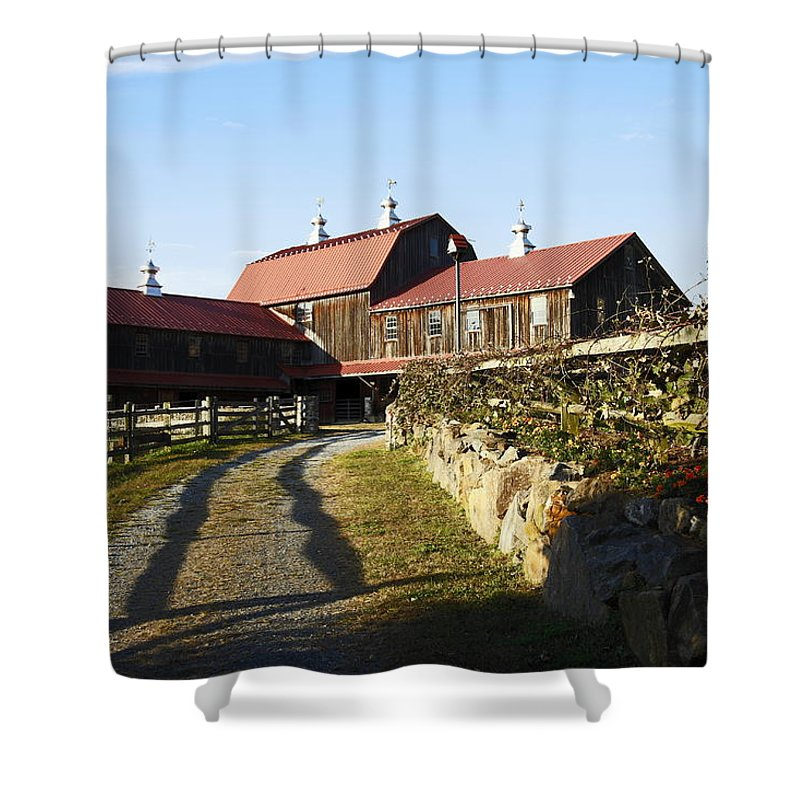 Large Brown Barn Shower Curtain featuring the photograph To The Barn by Sally Weigand