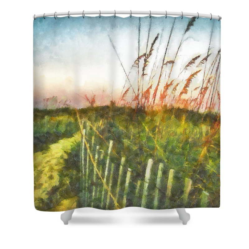 Sea Oats Shower Curtain featuring the painting To The Sea by Lynne Jenkins