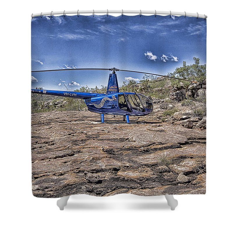 Helicopter Shower Curtain featuring the photograph Top of the Gorge by Douglas Barnard