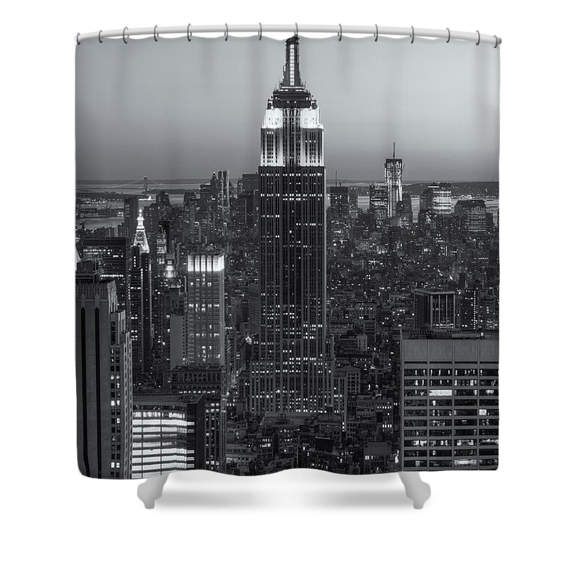 Clarence Holmes Shower Curtain featuring the photograph Top Of The Rock Twilight Vi by Clarence Holmes