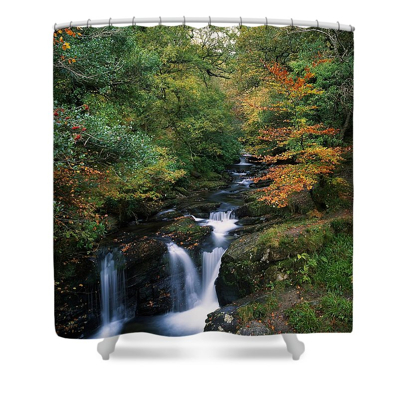 Autumn Leaves Shower Curtain featuring the photograph Torc Waterfall, Ireland,co Kerry by The Irish Image Collection