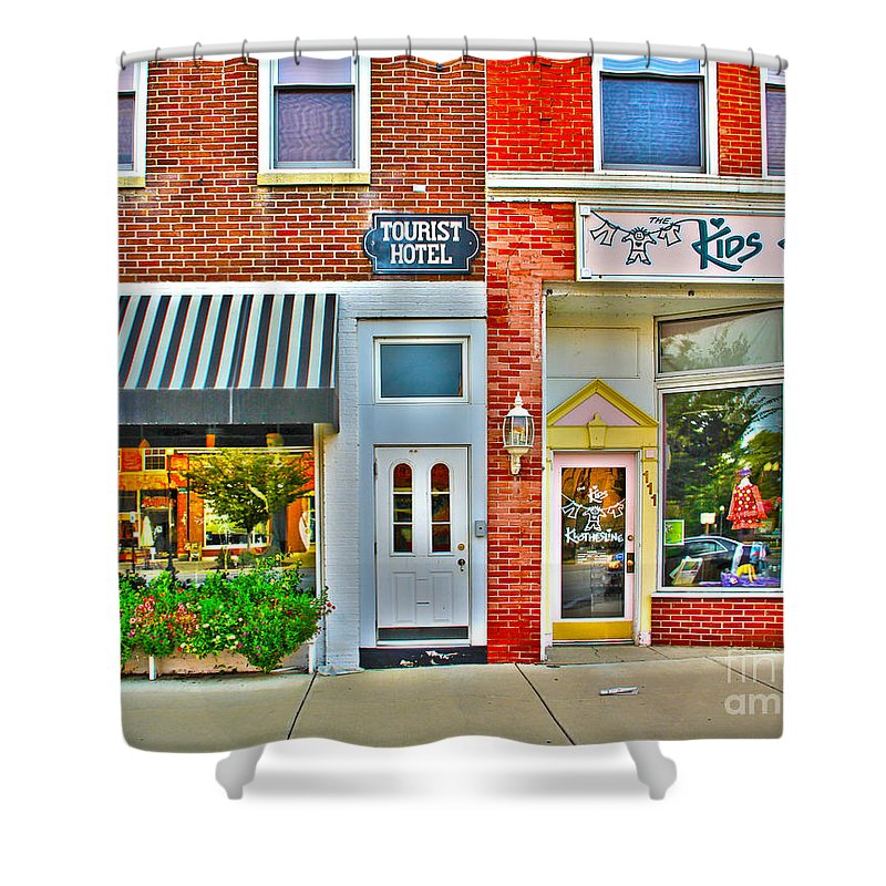 Tourist Hotel Shower Curtain featuring the photograph Tourist Hotel-downtown Perrysburg by Jack Schultz