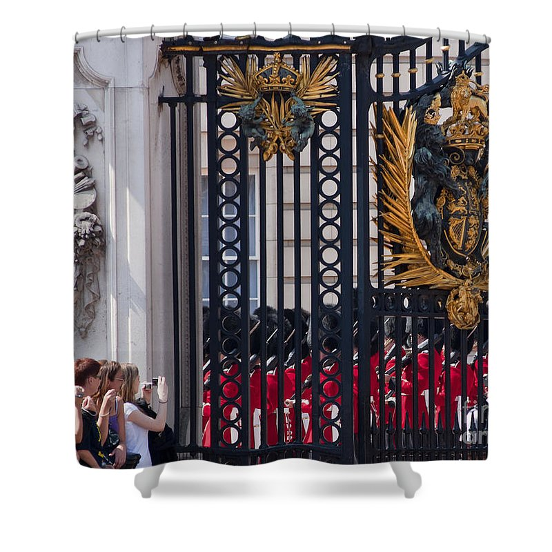 Britain Shower Curtain featuring the photograph Tourists At Changing Of The Guards by Andrew Michael