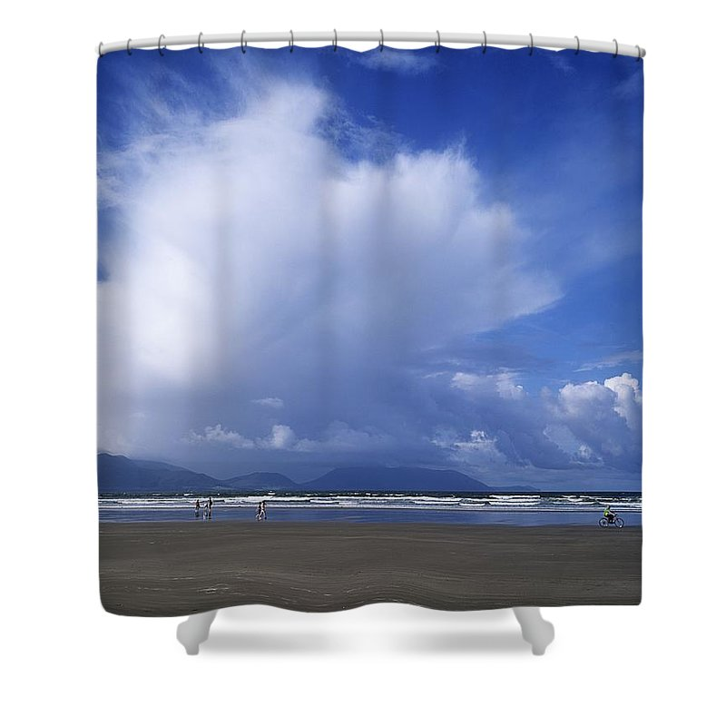 Beach Shower Curtain featuring the photograph Tourists On The Beach, Inch Beach by The Irish Image Collection