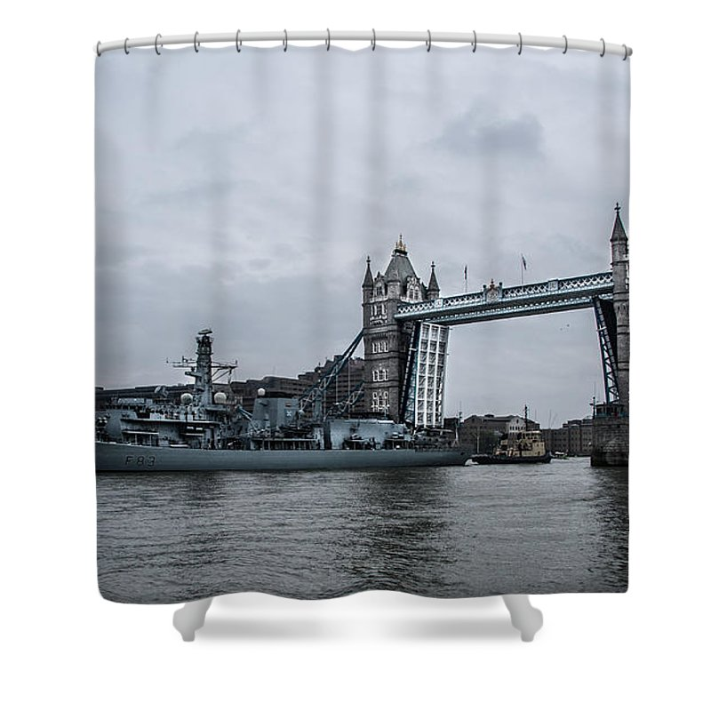 Tower Bridge Shower Curtain featuring the photograph Tower Bridge Open by Dawn OConnor