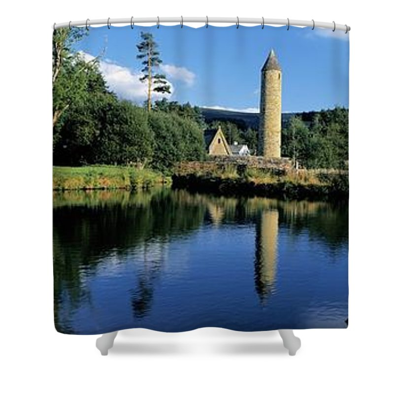 Archaeology Shower Curtain featuring the photograph Tower Near A Lake, Round Tower, Ulster by The Irish Image Collection