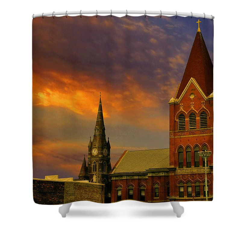 Church Shower Curtain featuring the photograph Towers Of Faith by Brian Fisher