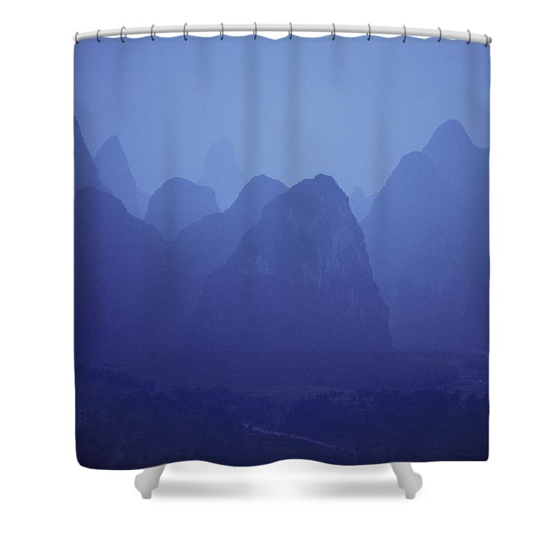 people's Republic Of China Shower Curtain featuring the photograph Towers Of Stone, Guilin, China by Michael Nichols
