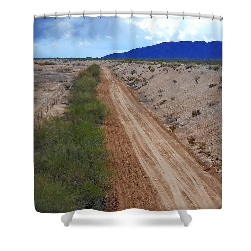 Tracks To Nowhere Shower Curtain featuring the photograph Tracks To Nowhere by Methune Hively