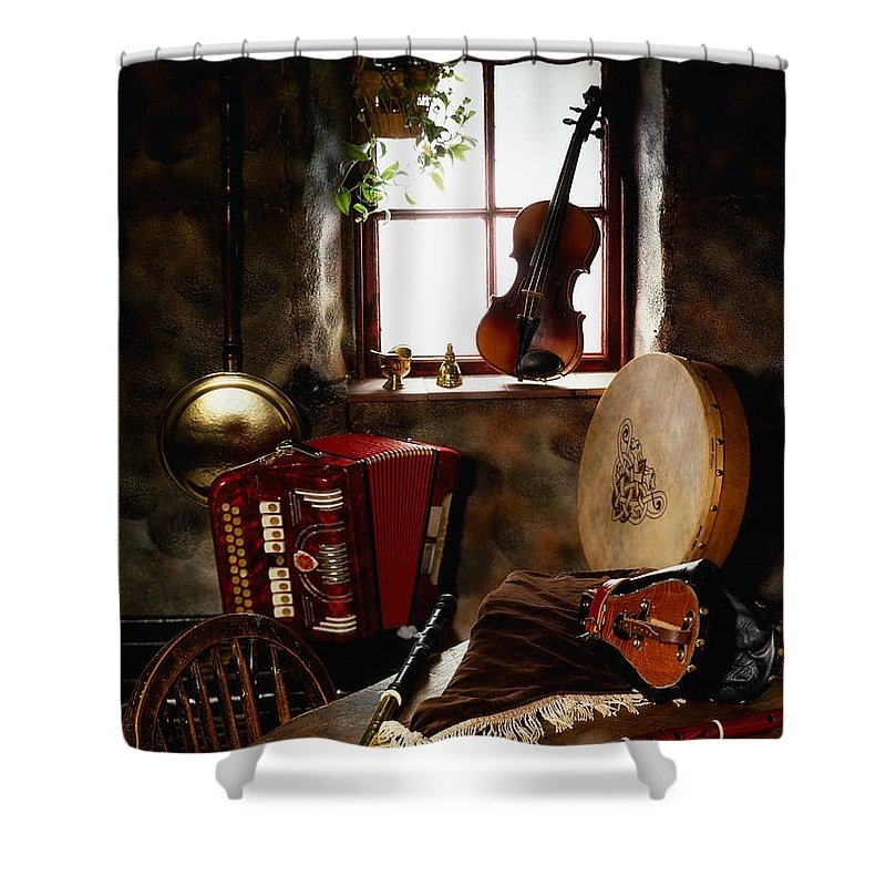 Bodhran Shower Curtain featuring the photograph Traditional Musical Instruments, In Old by The Irish Image Collection