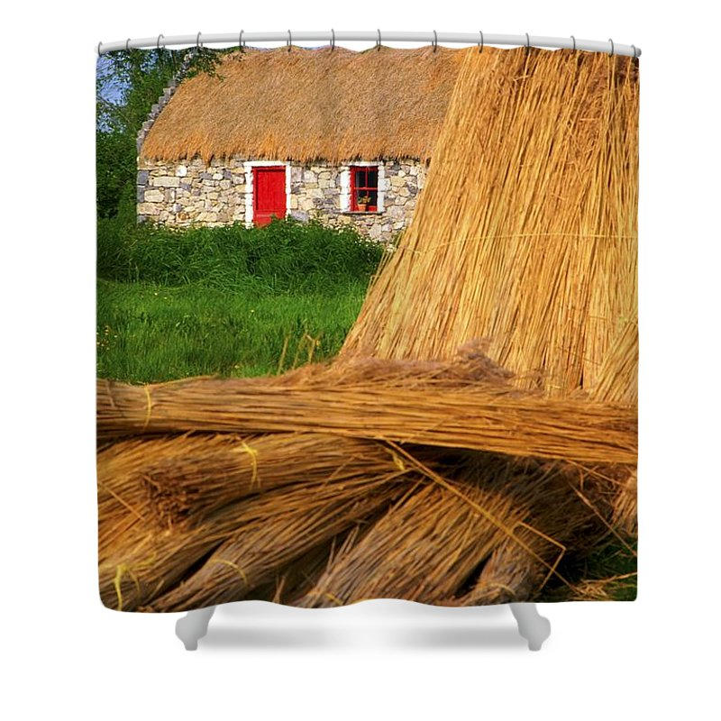Art Shower Curtain featuring the photograph Traditional Thatching, Ireland by The Irish Image Collection