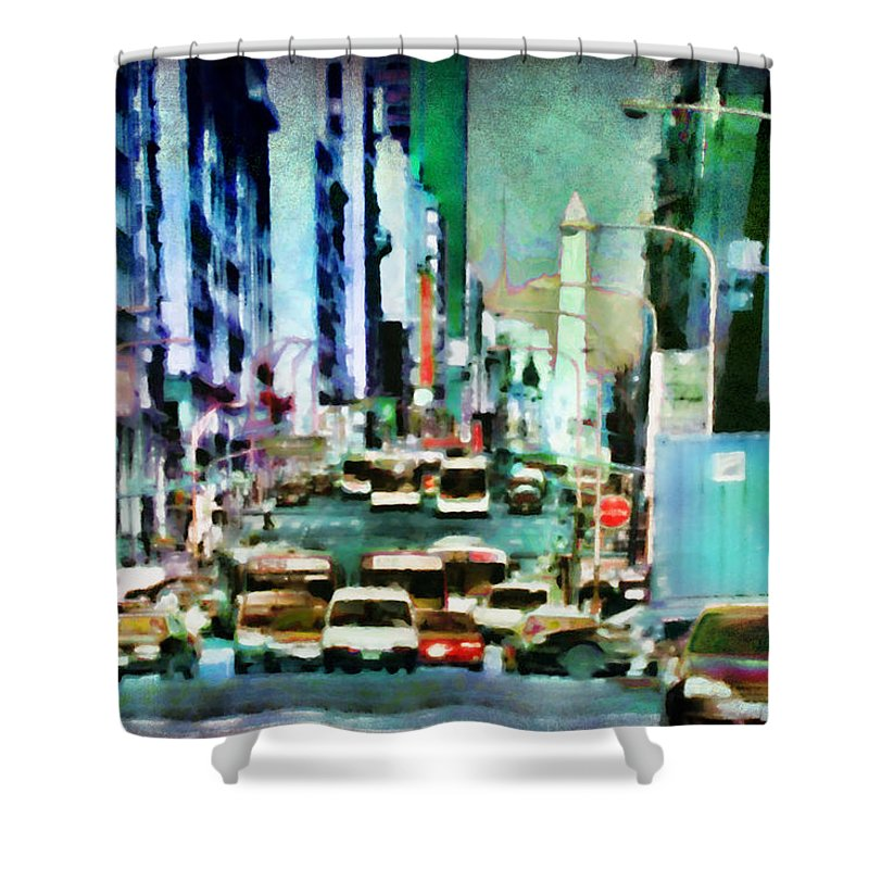 Traffic Shower Curtain featuring the digital art Traffic by Diane Dugas