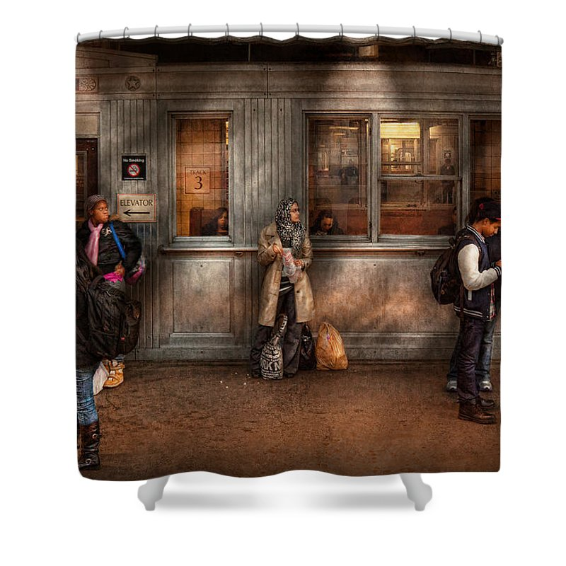 Train Shower Curtain featuring the photograph Train - Station - Waiting For The Next Train by Mike Savad