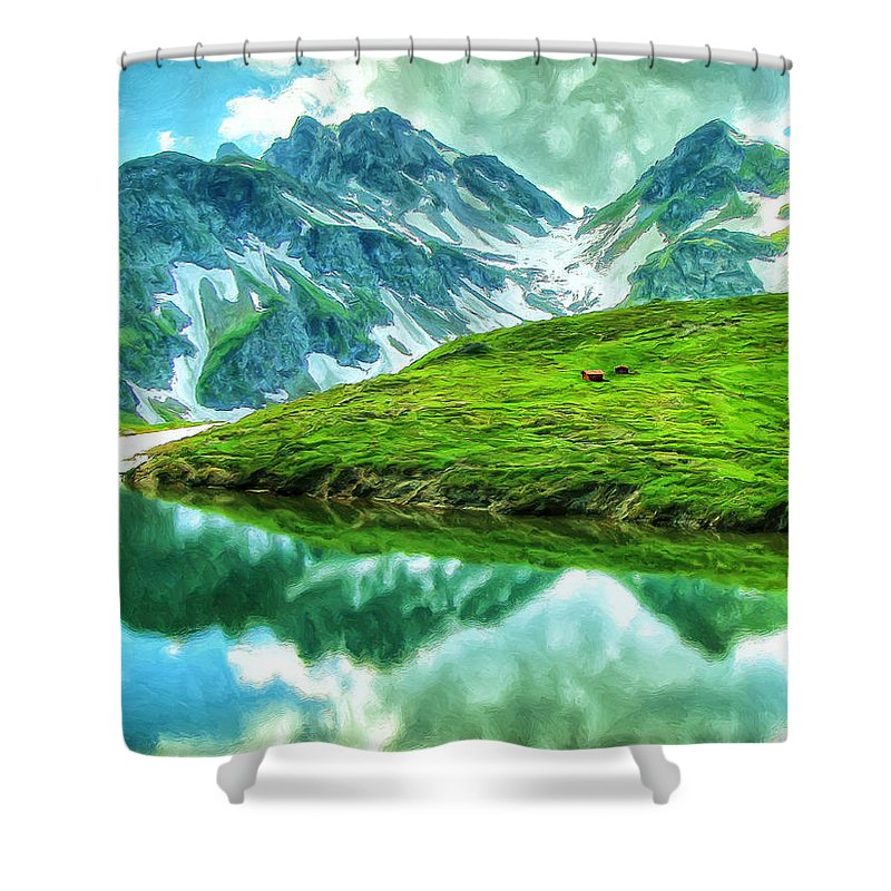 Alps Shower Curtain featuring the painting Travelers Rest Swiss Alps by Dominic Piperata