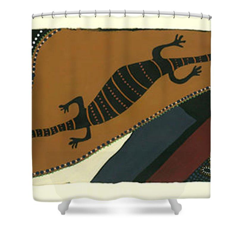 Australian Goanna Shower Curtain featuring the mixed media Traveling Goanna by Pat Saunders-White