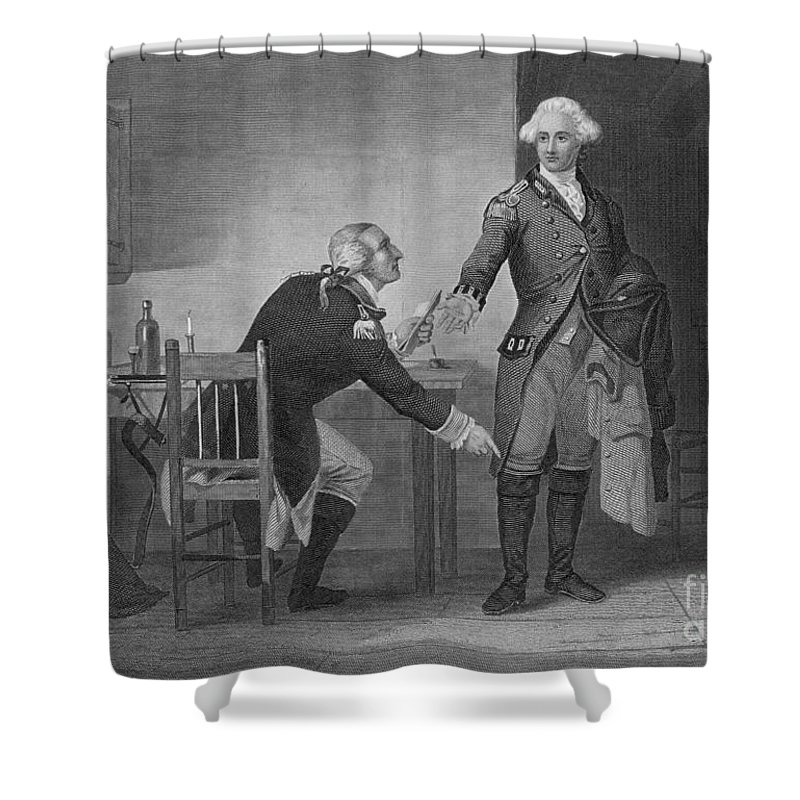History Shower Curtain featuring the photograph Treason Of Benedict Arnold, 1780 by Photo Researchers