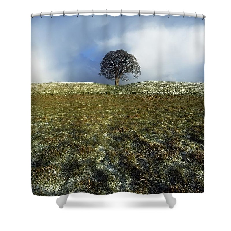Cloud Shower Curtain featuring the photograph Tree On A Landscape, Giants Ring by The Irish Image Collection