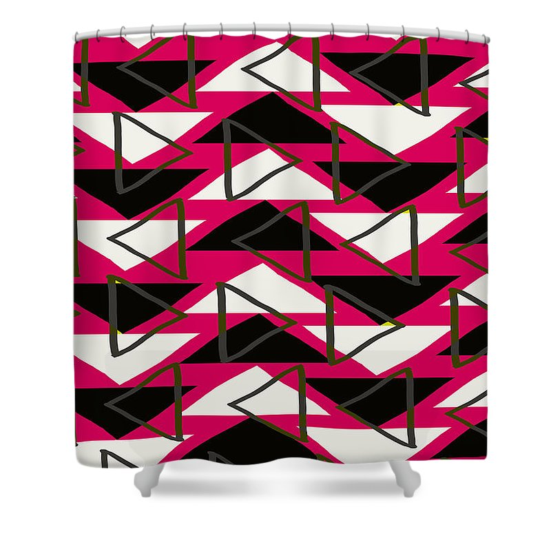 Louisa Shower Curtain featuring the digital art Triangles by Louisa Knight