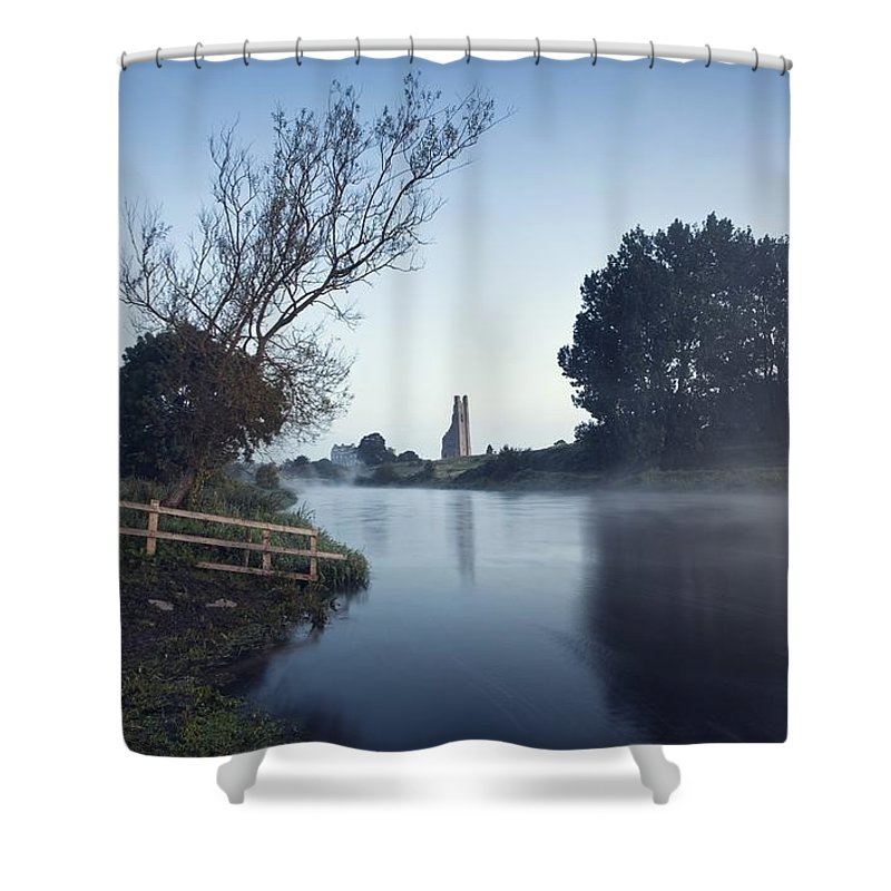 Boyne Valley Shower Curtain featuring the photograph Trim Castle Along Banks Of The River by Peter McCabe