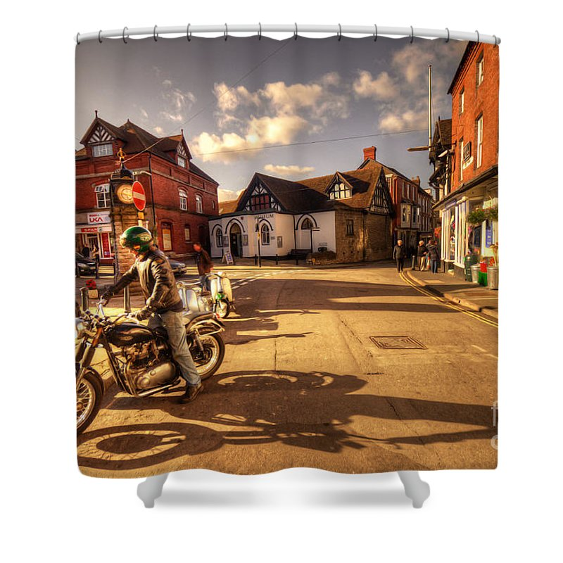 Much Shower Curtain featuring the photograph Triumph In Much Wenlock by Rob Hawkins
