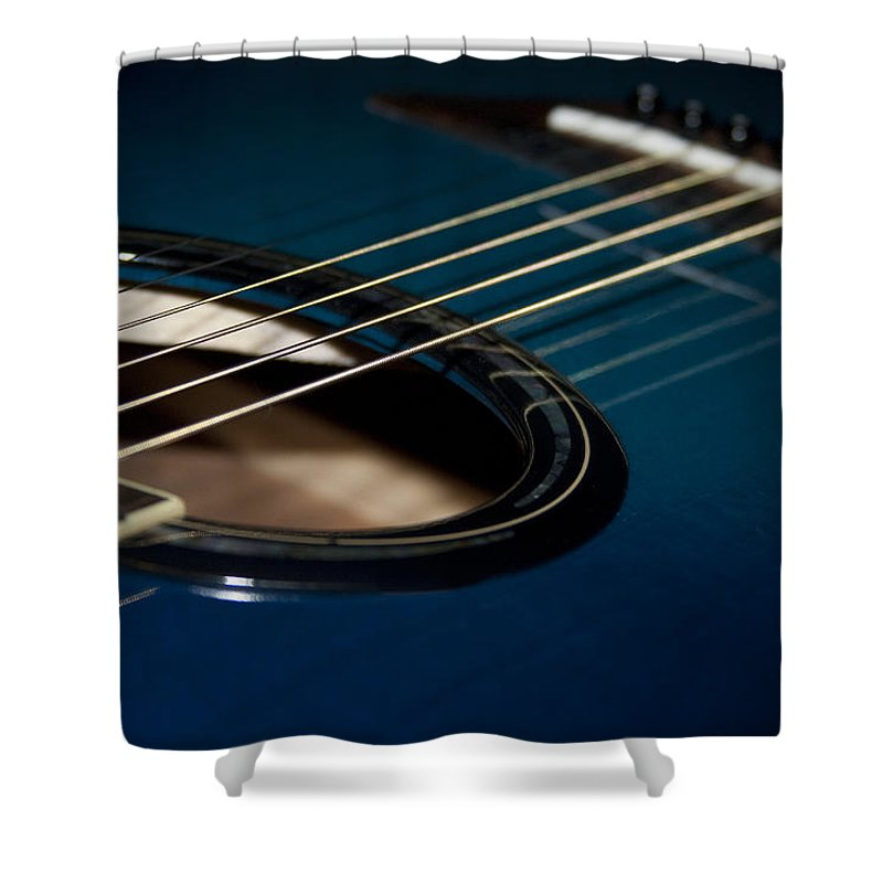 Acoustic Shower Curtain Featuring The Photograph True Blue Guitar By Kathy Clark