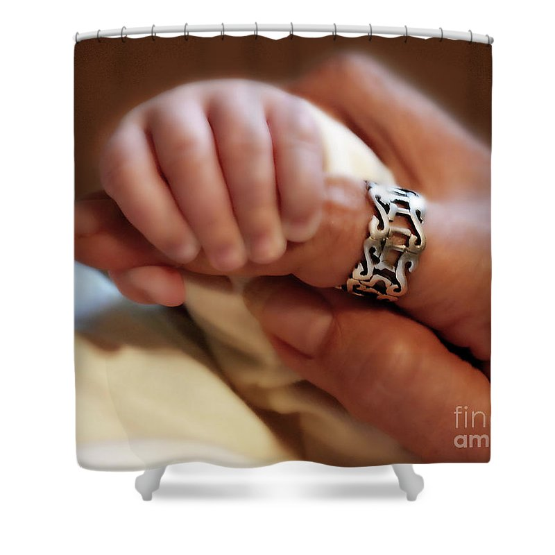 Baby Fingers Shower Curtain featuring the painting Trust by Constance Woods