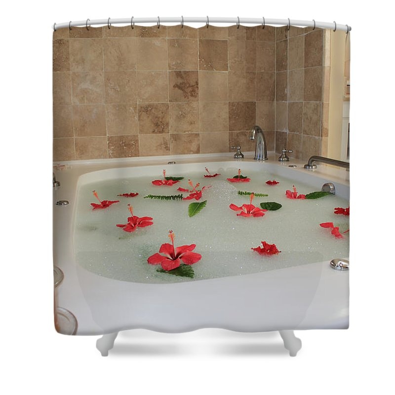 Bath Tub Shower Curtain featuring the photograph Tub Of Hibiscus by Shane Bechler