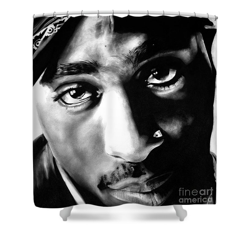Tupac Shower Curtain Featuring The Drawing By Brian Curran