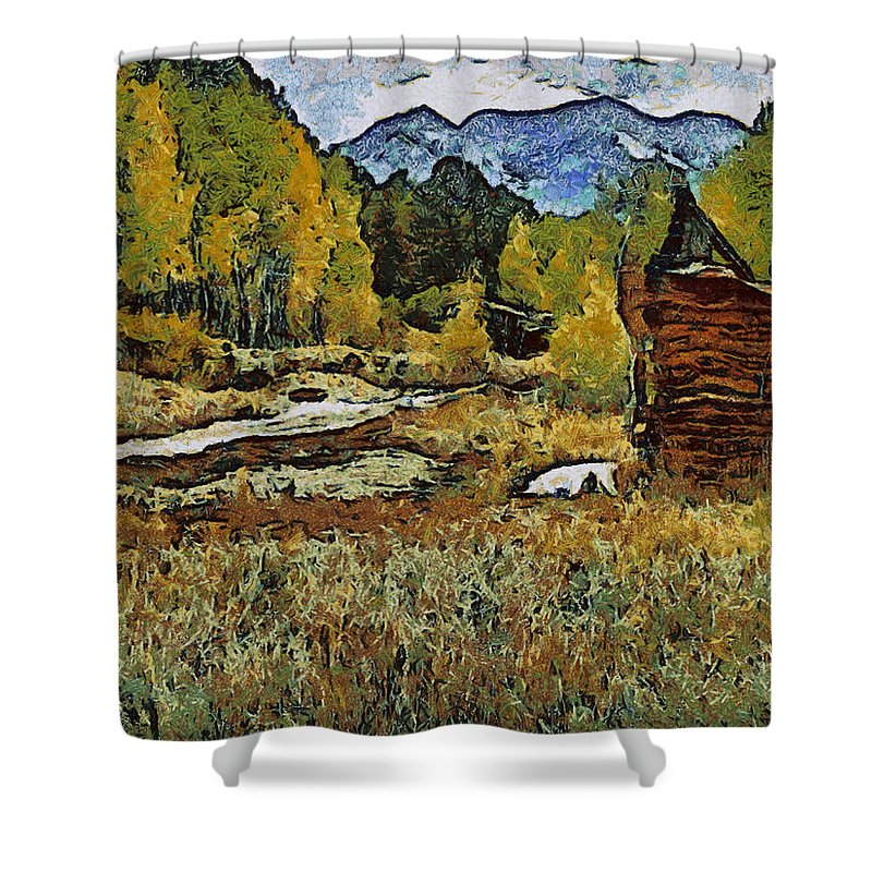 Turrett Shower Curtain featuring the digital art Turrett - Homage Vangogh by Charles Muhle