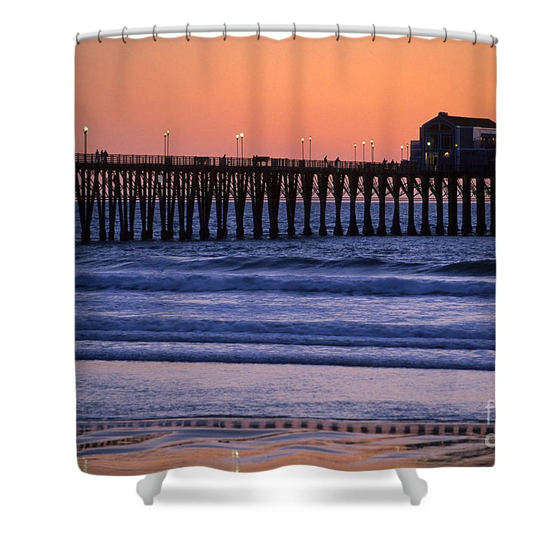 Sandra Bronstein Shower Curtain featuring the photograph Twilight At Imperial Pier by Sandra Bronstein