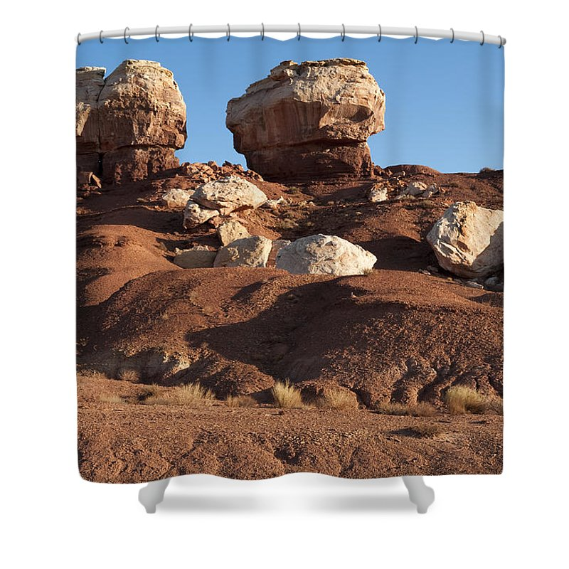 Landscapes Shower Curtain featuring the photograph Twin Rocks Capitol Reef Np by Sandra Bronstein