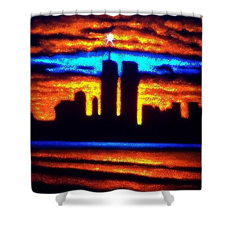 Twin Towers Shower Curtain featuring the painting Twin Towers In Black Light by Thomas Kolendra