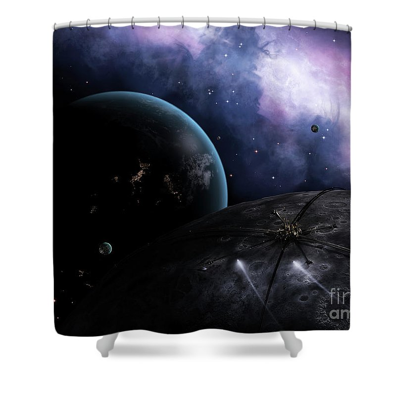 Artwork Shower Curtain featuring the digital art Two Courier Shuttles Pass Near Eione by Brian Christensen