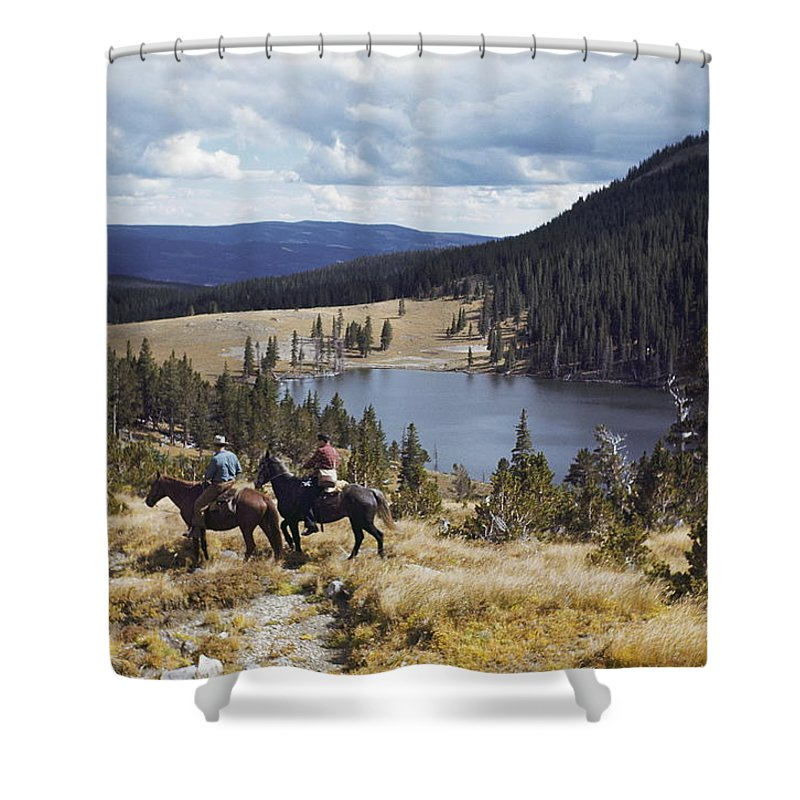 pecos Baldy Lake Shower Curtain featuring the photograph Two Horsemen Ride Above Pecos Baldy by Justin Locke