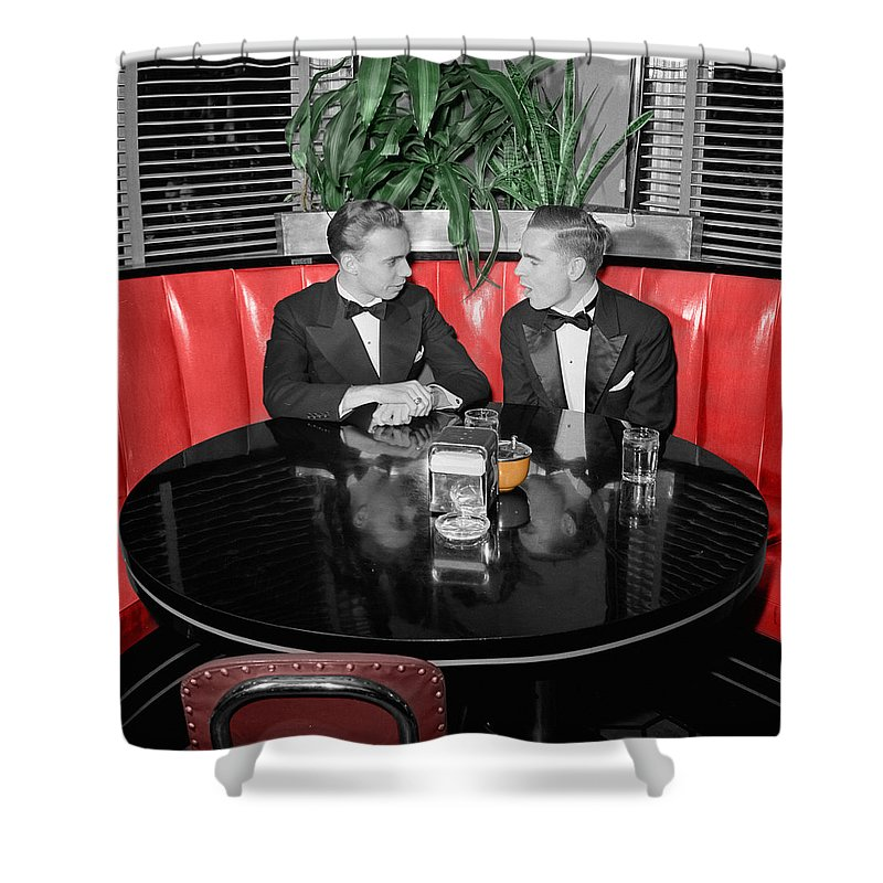 Fifties Shower Curtain featuring the photograph Two Tuxedos by Andrew Fare