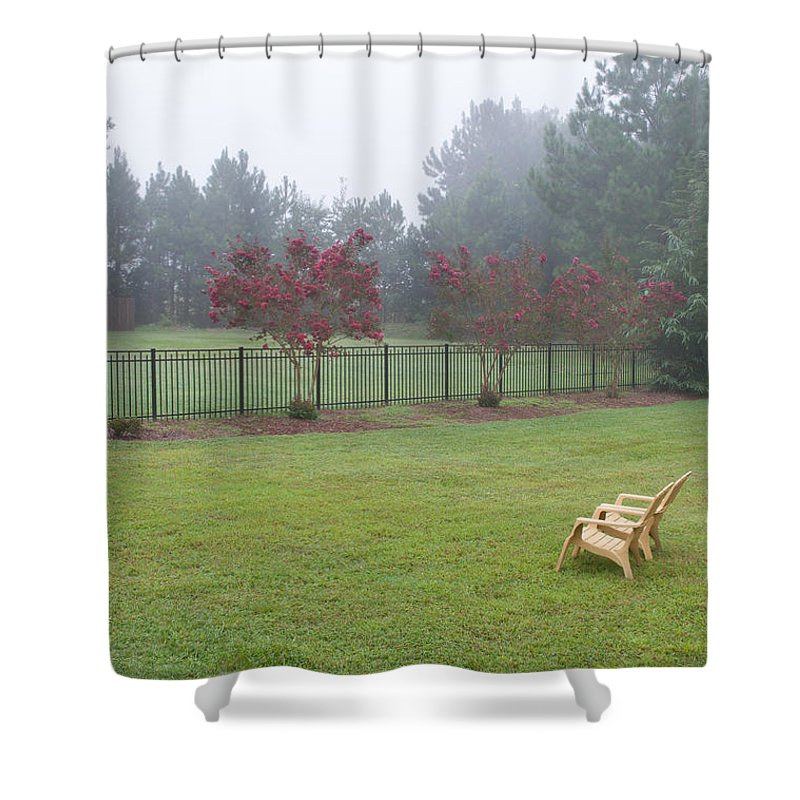 Nature Shower Curtain featuring the photograph Two Yellow Chairs 2 by Paulette B Wright