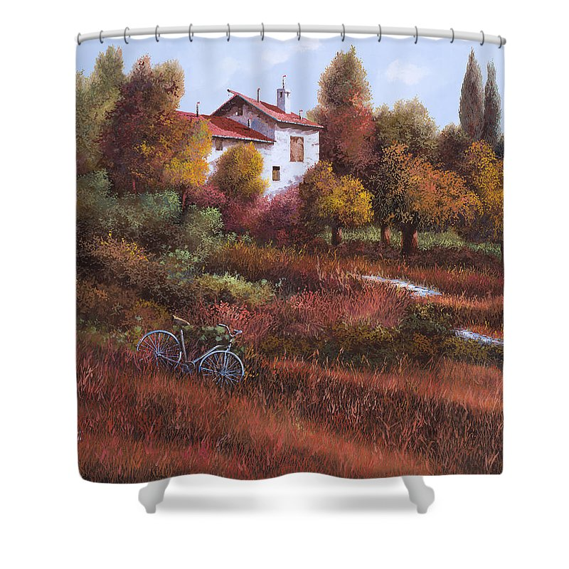 Bike.wood Shower Curtain featuring the painting Una Bicicletta Nel Bosco by Guido Borelli